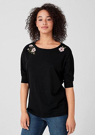 Jerseyshirt mit Blumen-Stitching