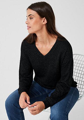 V-Neck-Pullover mit Glitzereffekt