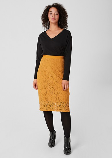 Lace skirt with an elasticated waistband from s.Oliver