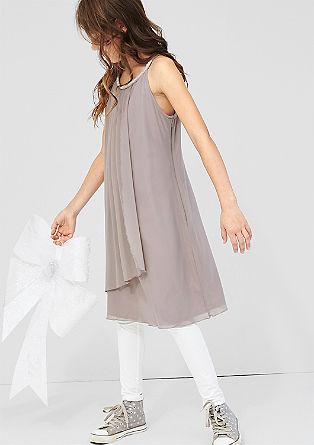 Mesh-Kleid mit Schmuckstein-Besatz