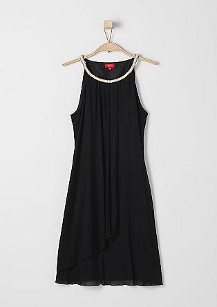 Mesh-Kleid mit Schmucksteinbesatz