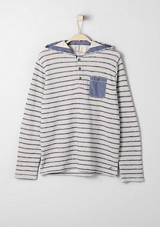 Geringeltes Sweatshirt mit Kapuze
