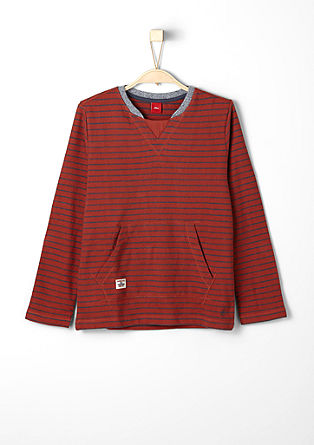 Long sleeve top with a woven pattern from s.Oliver