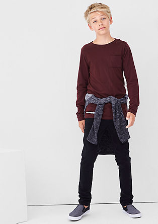 Slim: Longshirt mit Rücken-Print