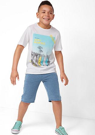 Sweat-Shorts mit Streifenstruktur
