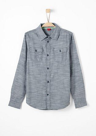 Slim: Hemd mit Fischgrat-Muster