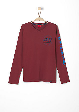 Sporty long sleeve top with embroidery from s.Oliver