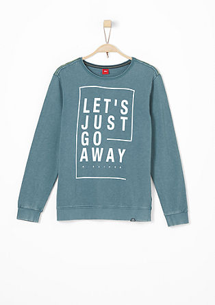 Casual sweater met garment-washed effect