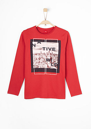 Long sleeve top with a relief print from s.Oliver