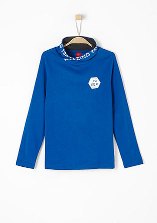 Polo neck top with printed lettering from s.Oliver