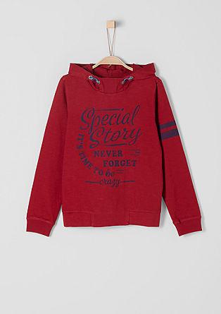 Lahek pulover s kapuco z vintage napisom