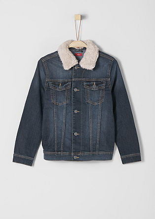 Denim jacket with a plush collar from s.Oliver