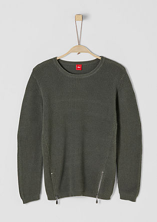 Knitted jumper with a print and zip from s.Oliver