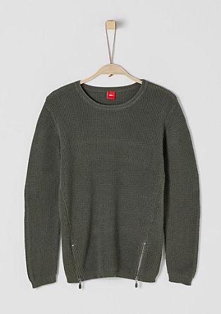 Pleten pulover s potiskom in z zadrgo