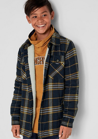 Flannel jacket with a teddy plush lining from s.Oliver