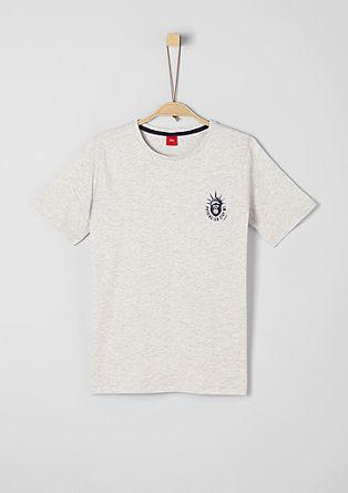 Melirana majica z drobnim potiskom