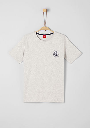 Melange-Shirt mit Miniprint