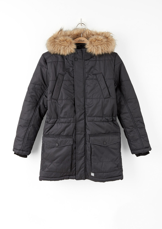 buy warm long parka with faux fur s oliver shop. Black Bedroom Furniture Sets. Home Design Ideas