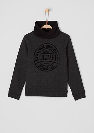 Sweatshirt pulover z logotipom in širšim puli ovratnikom