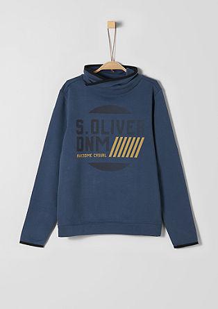 Sweatshirt pulover z logotipom z šal ovratnikom