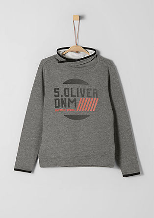 Logo sweatshirt with shawl collar from s.Oliver