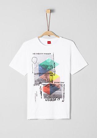 shirt van slubgaren, met print