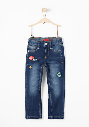 Pelle Straight: Stretch-Jeans mit Patches