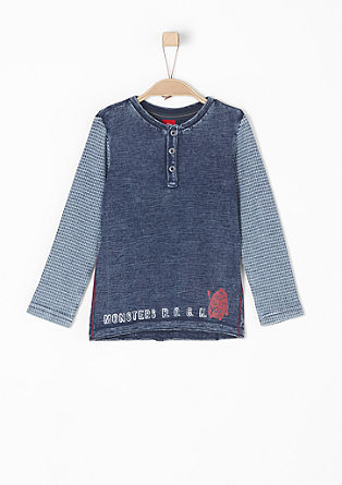 Shirt met garment-washed effect, van slubgaren
