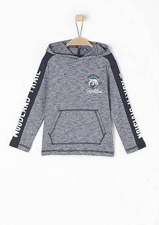 Hooded top with printed sleeves from s.Oliver