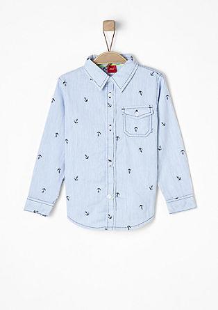 Slim: Streifenhemd mit Anker-Print