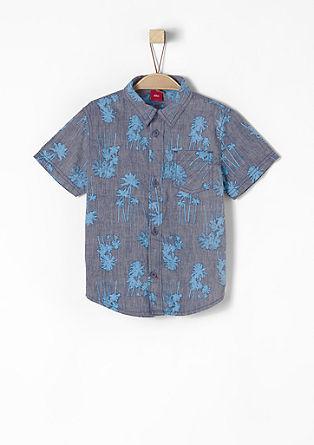 Overhemd met print all-over en korte mouwen