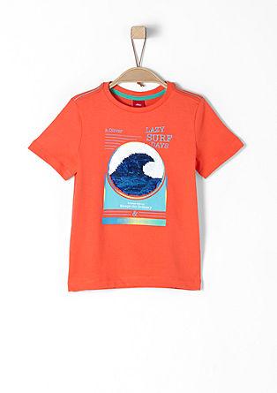 T-Shirt mit Wendepailletten-Motiv