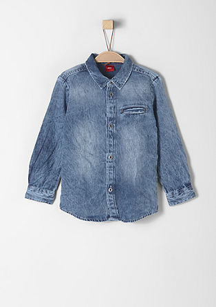 Slim: textured denim shirt from s.Oliver