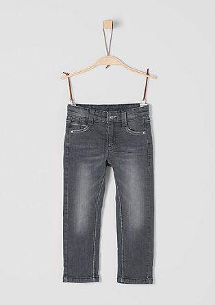 Pelle: Graue Jeans mit Prägung
