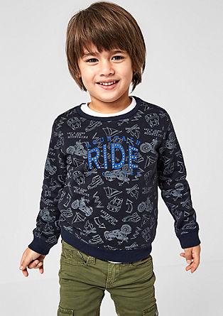 Sweatshirt mit Biker-Print und Studs