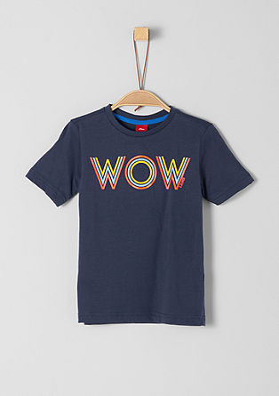 Jersey shirt met neonkleurige tekst