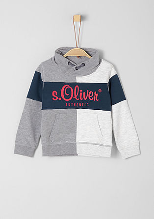 Colour block hoodie with a logo from s.Oliver