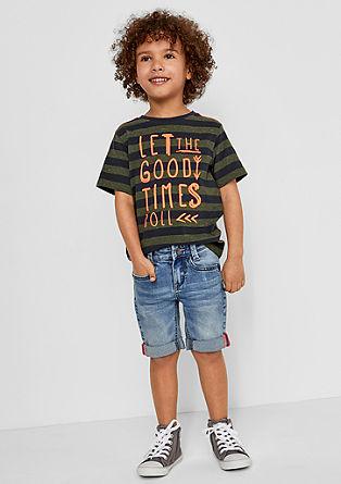 Slim: Streifenshirt mit Wording