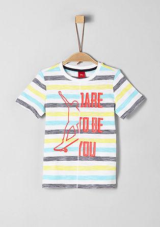Črtasta majica z gumiranim potiskom