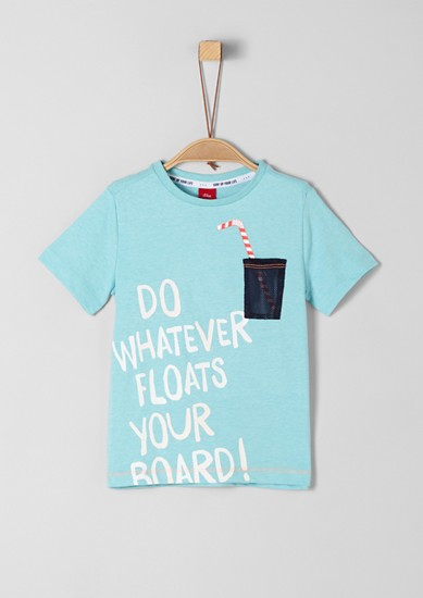 Meliertes T-Shirt mit Effekt-Print