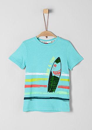 Shirt met surfermotief en omkeerbare pailletten