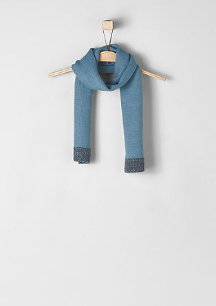 Knit scarf with ribbed trims from s.Oliver