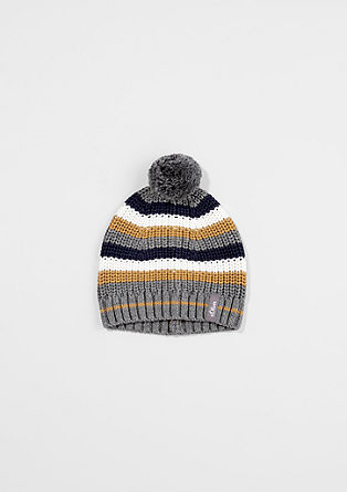 Striped pompom hat from s.Oliver