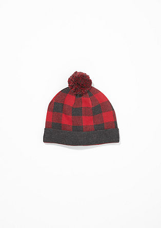 Check hat with pompom from s.Oliver