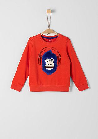 Sweatshirt met 3D-motief en rits