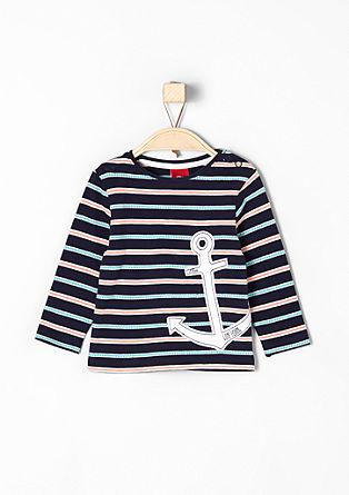 Jacquard-Shirt mit Anker-Applikation