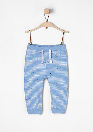 Striped jersey trousers with whales from s.Oliver