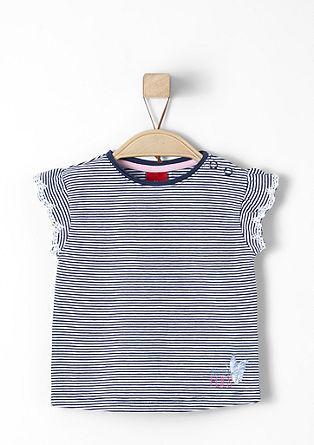 Gestreept shirt met gaatjesmotief