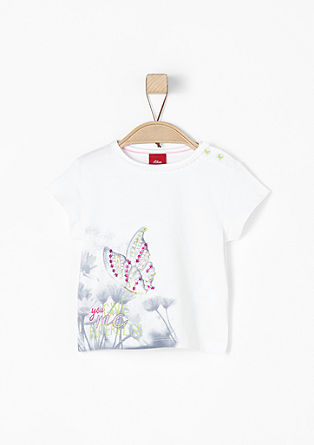Printed T-shirt with glitter appliqués from s.Oliver