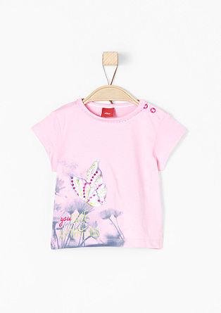 Printed shirt met glitterapplicatie